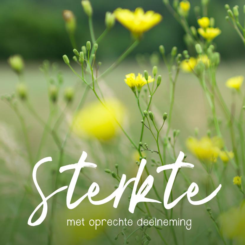 Condoleancekaarten - Condoleance - gele bloemen sterkte