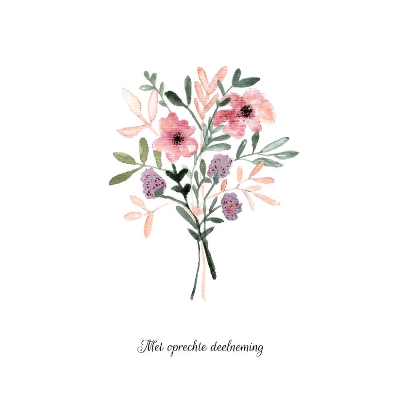 Condoleancekaarten -  Condoleance kaart met bloemen in aquarel - natuur