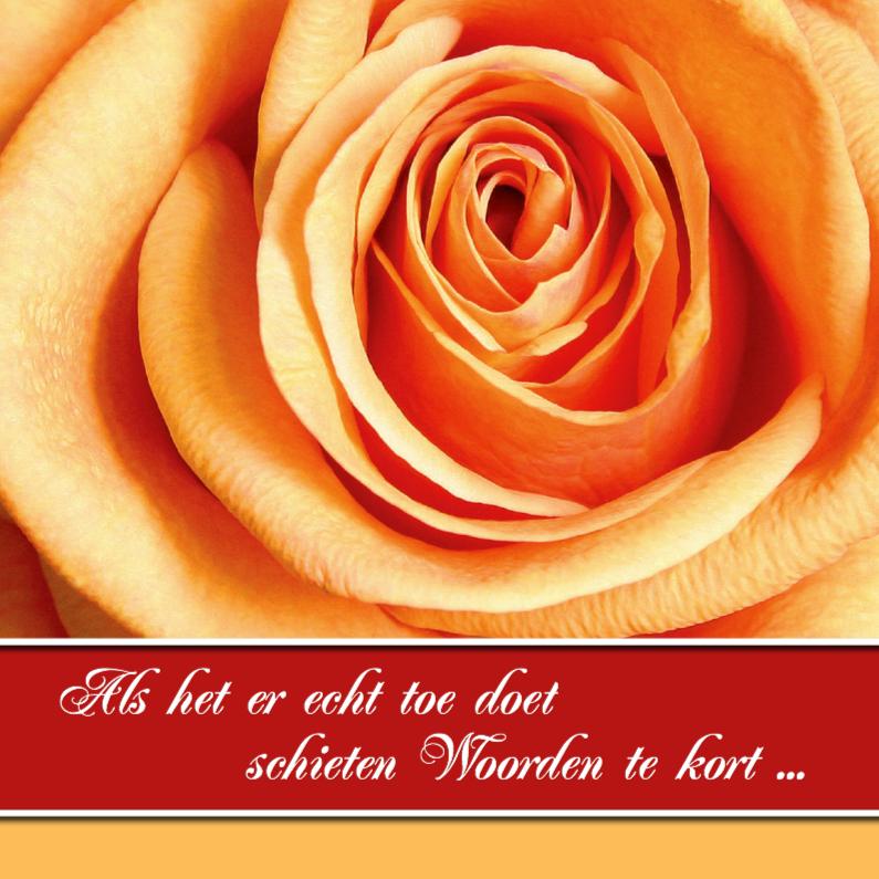Condoleancekaarten - Condoleance kaart oranje roos