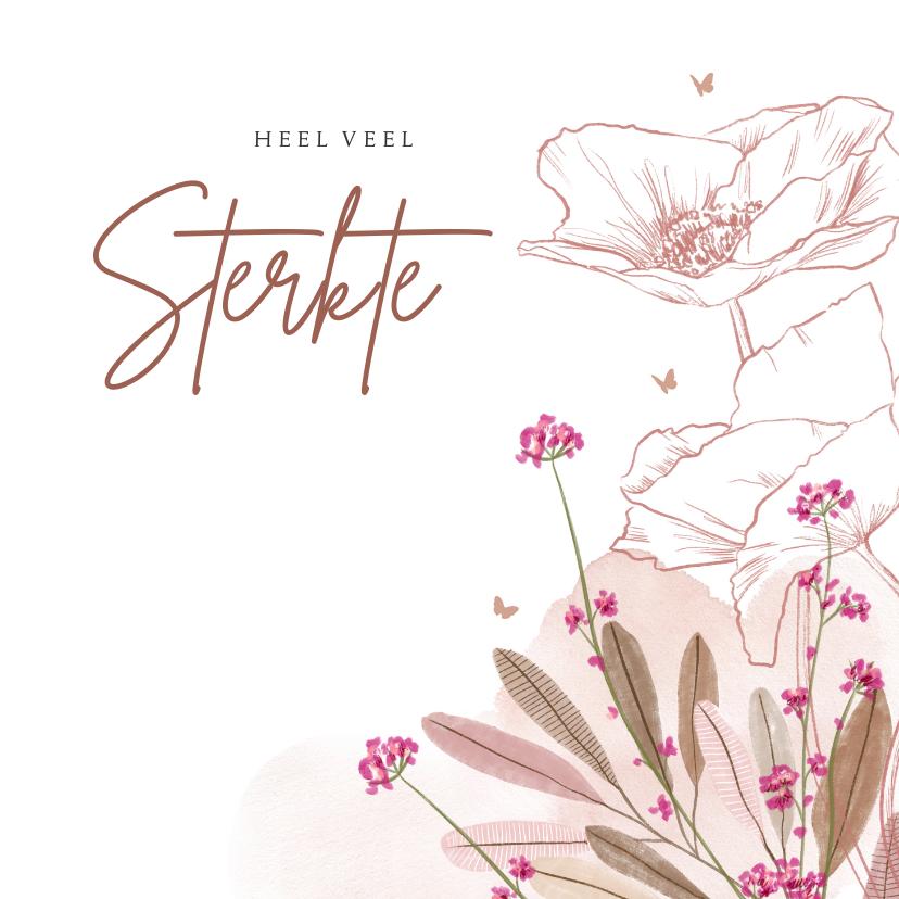 Condoleancekaarten - Condoleance kaart sterkte veldbloem, klaproos en vlindertjes