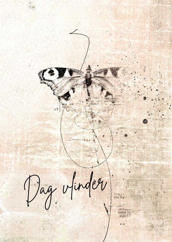 Condoleancekaarten - Condoleance kaart vlinder sketch roze