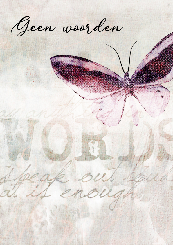 Condoleancekaarten - Condoleance kaart vlinder words