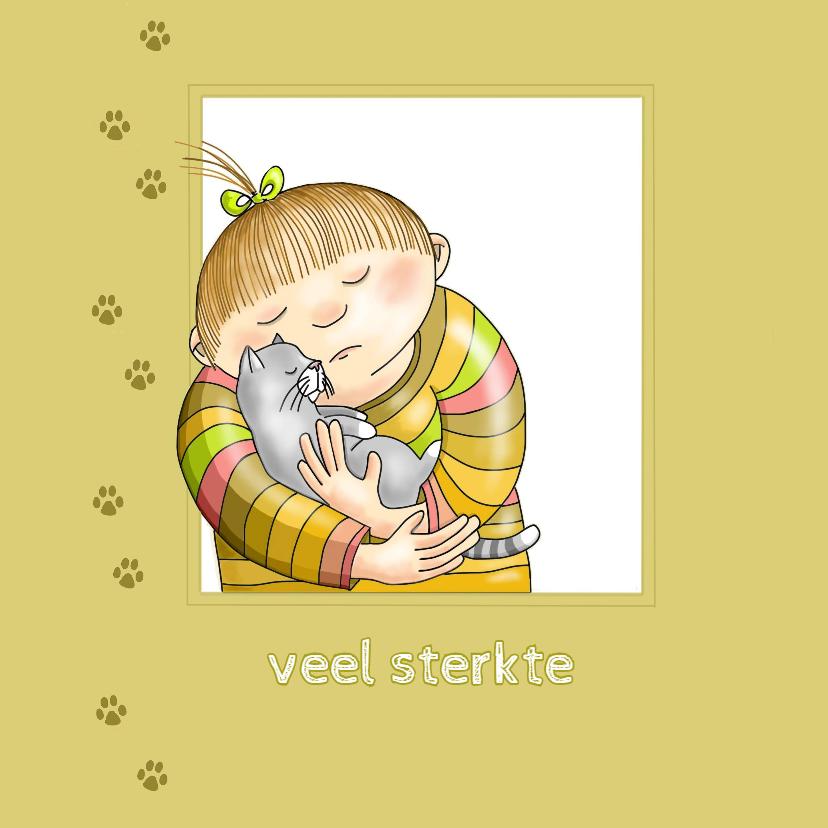 Condoleancekaarten - Condoleance - meisje met katje