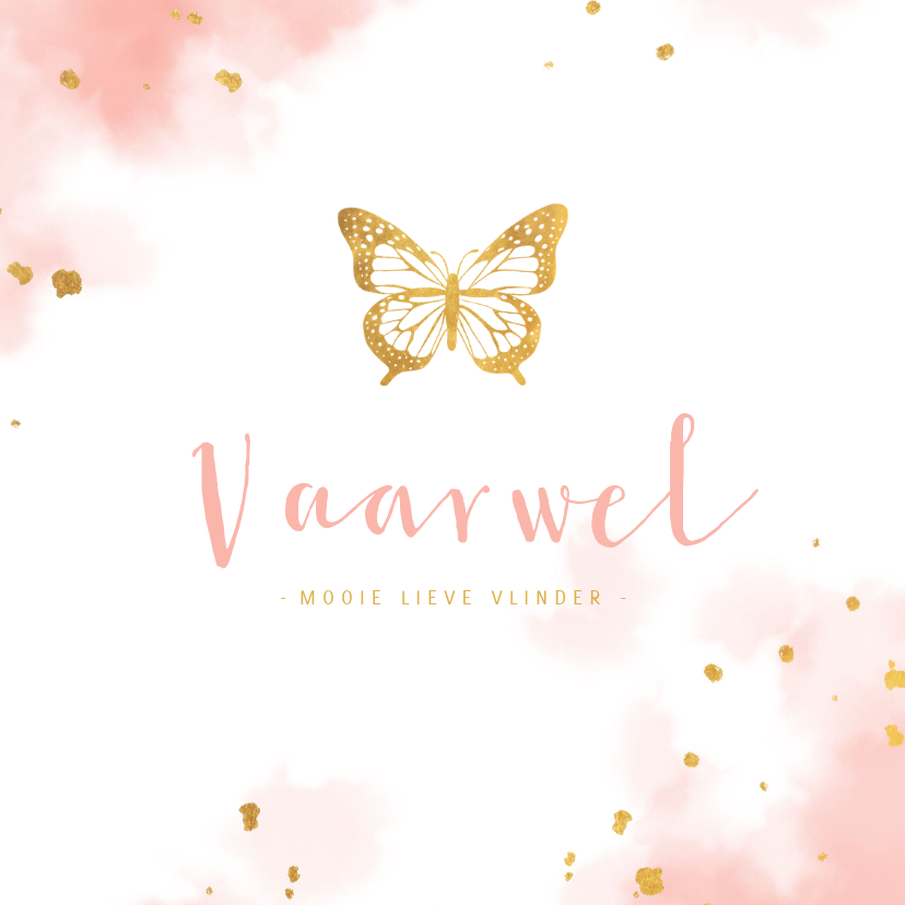 Condoleancekaarten - Condoleance met gouden vlinder en waterverf