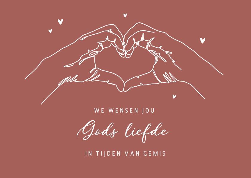 Condoleancekaarten - Condoleance met hartgebaar hartjes gods liefde