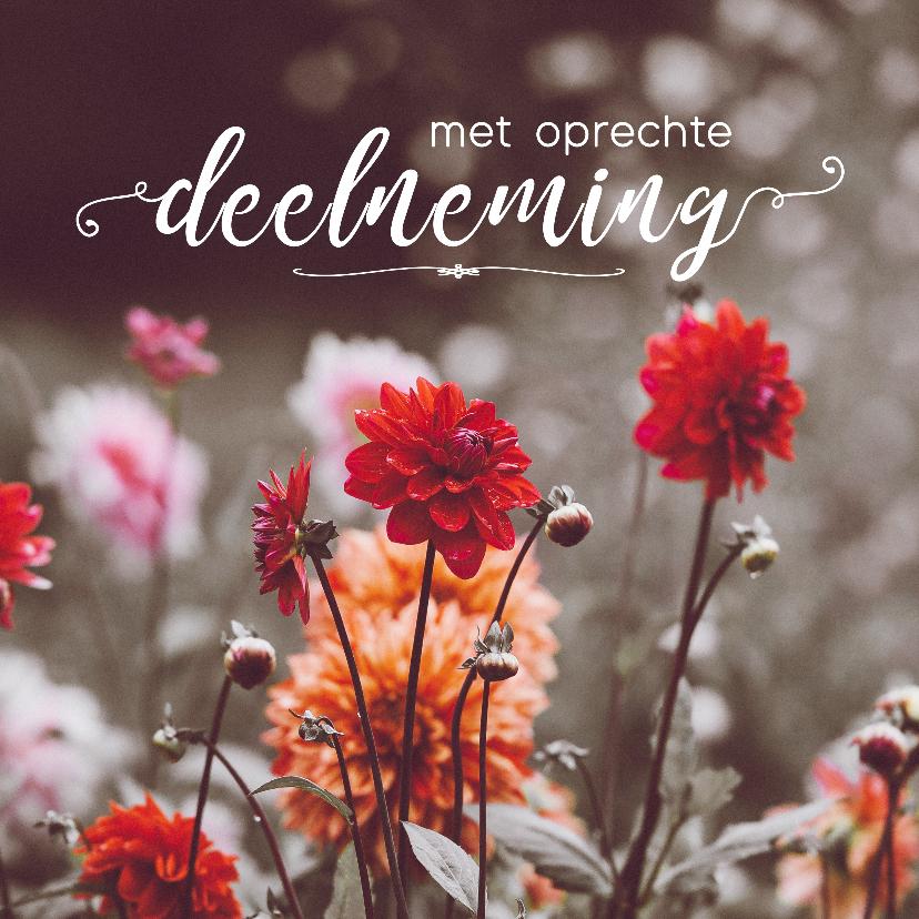 Condoleancekaarten - Condoleance - met oprechte deelneming bloemen