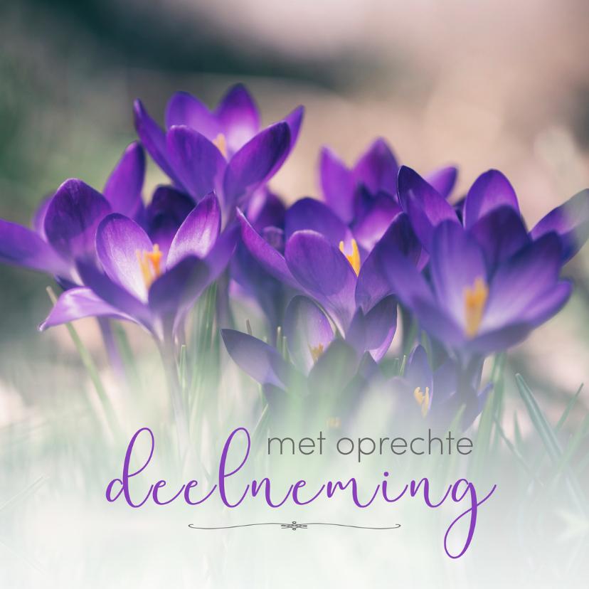 Condoleancekaarten - Condoleance - met oprechte deelneming krokus