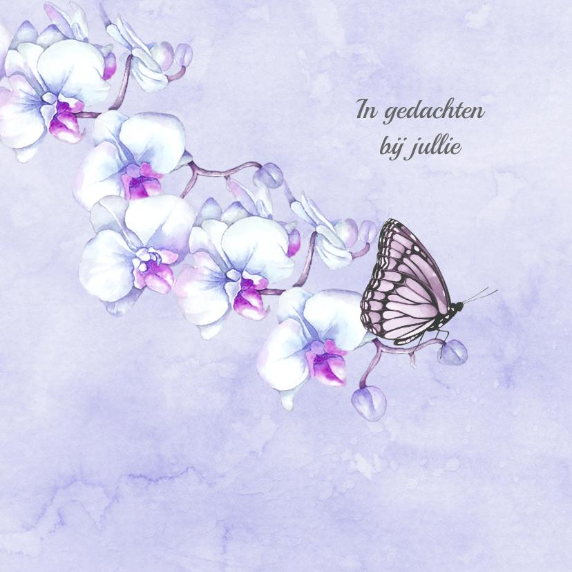 Condoleancekaarten - Condoleance orchidee vlinder