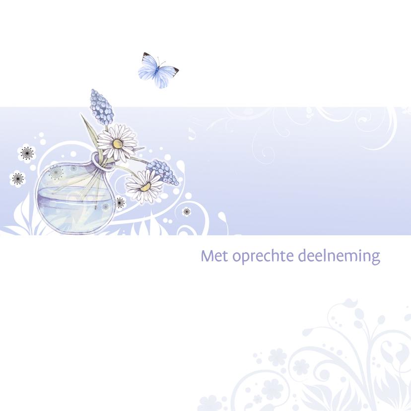 Condoleancekaarten - Condoleance vaasje bloemen