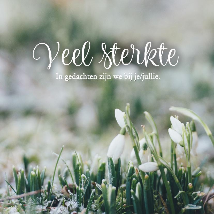 Condoleancekaarten - Condoleance - veel sterkte met sneeuwklokje