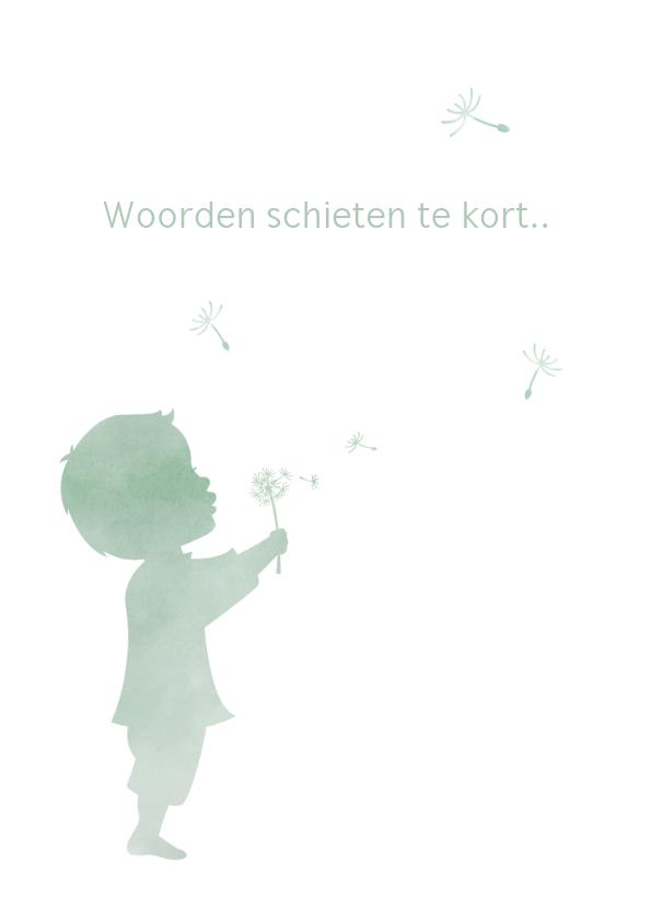 Condoleancekaarten - Condoleance waterverf silhouet jongen met paardenbloem