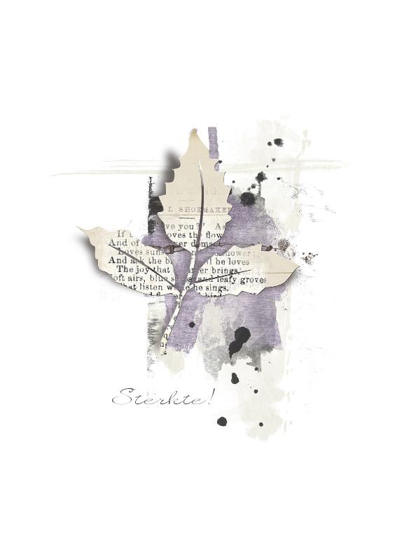 Condoleancekaarten - Condoleancekaart Blad Abstract