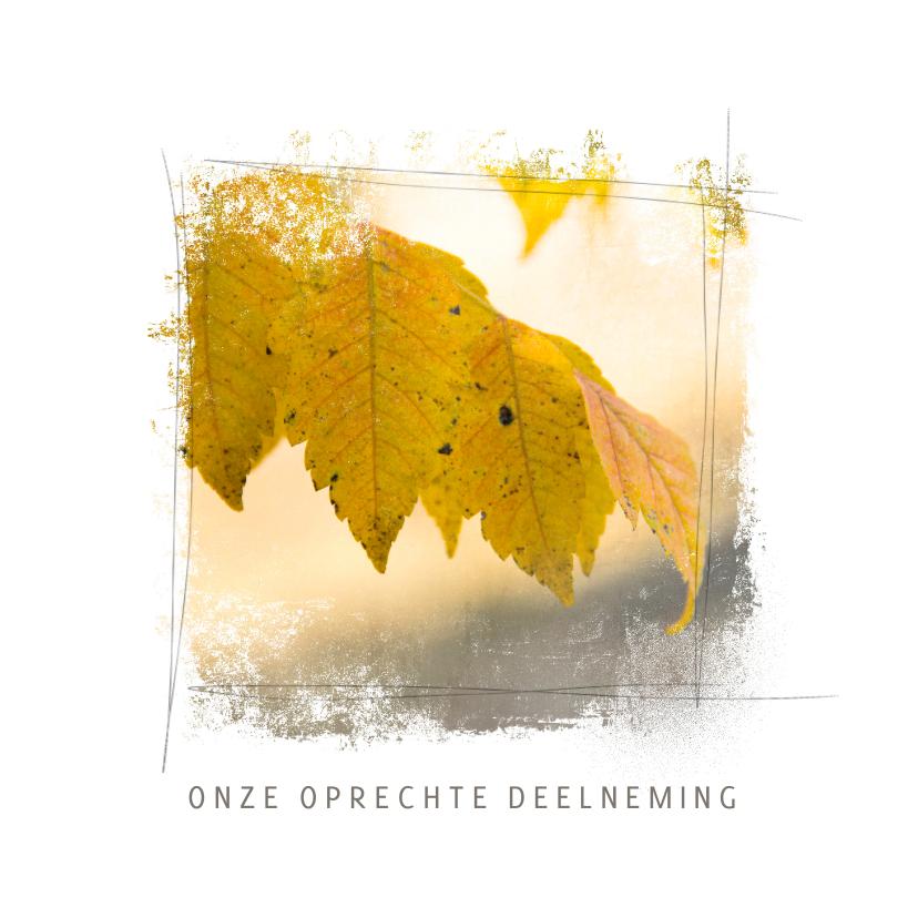 Condoleancekaarten - Condoleancekaart blad herfst geel