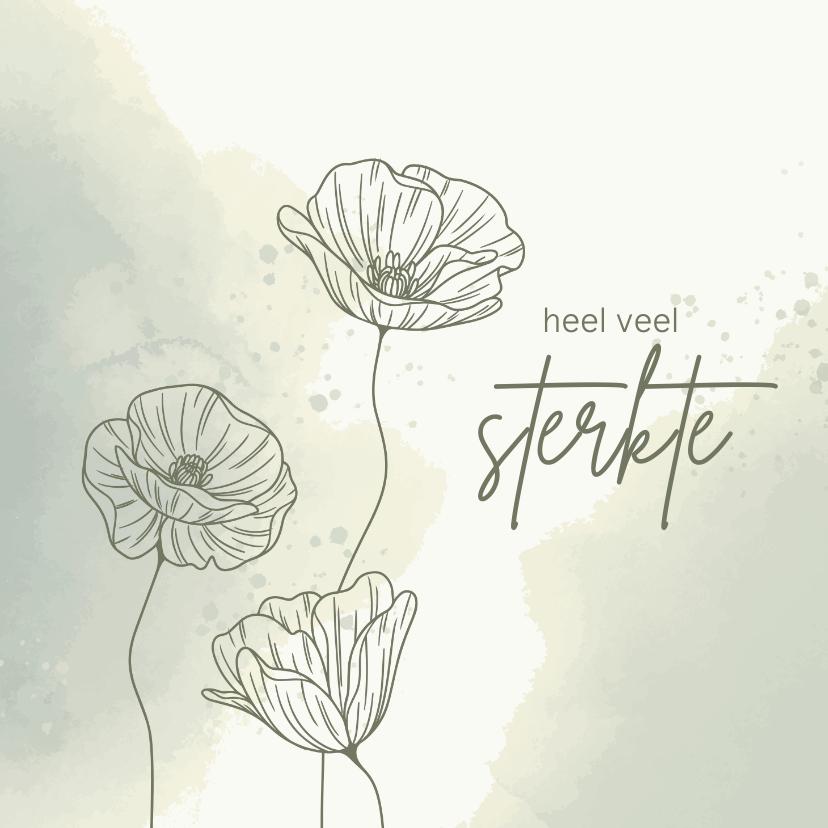 Condoleancekaarten - Condoleancekaart - Bloemen met watercolor in groen