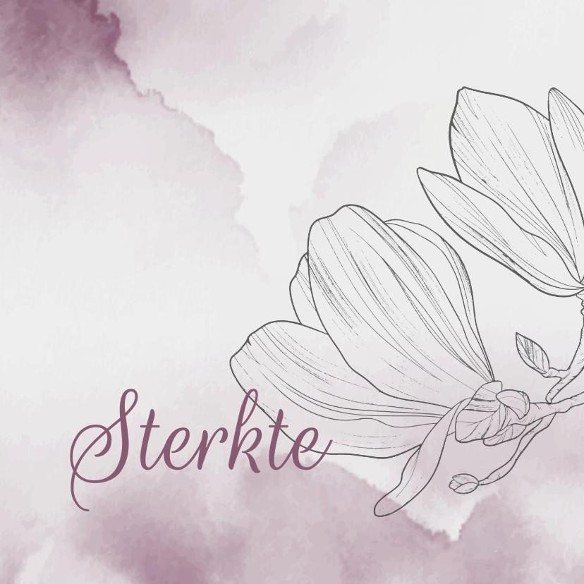 Condoleancekaarten - Condoleancekaart - Bloemen met watercolor