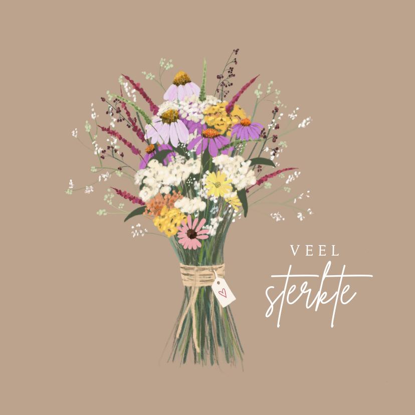 Condoleancekaarten - Condoleancekaart boeket bloemen met hartje