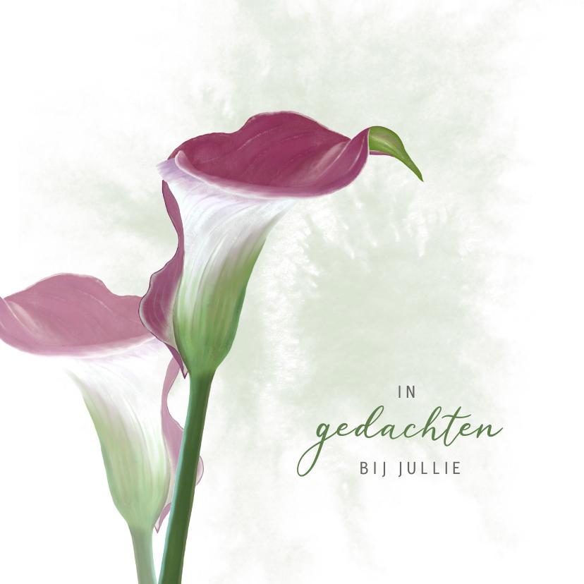 Condoleancekaarten - Condoleancekaart donkerrode Calla