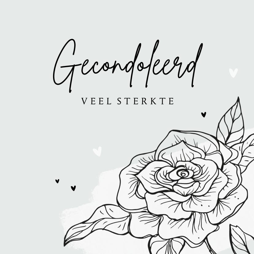 Condoleancekaarten - Condoleancekaart gecondoleerd bloem hartjes sterkte