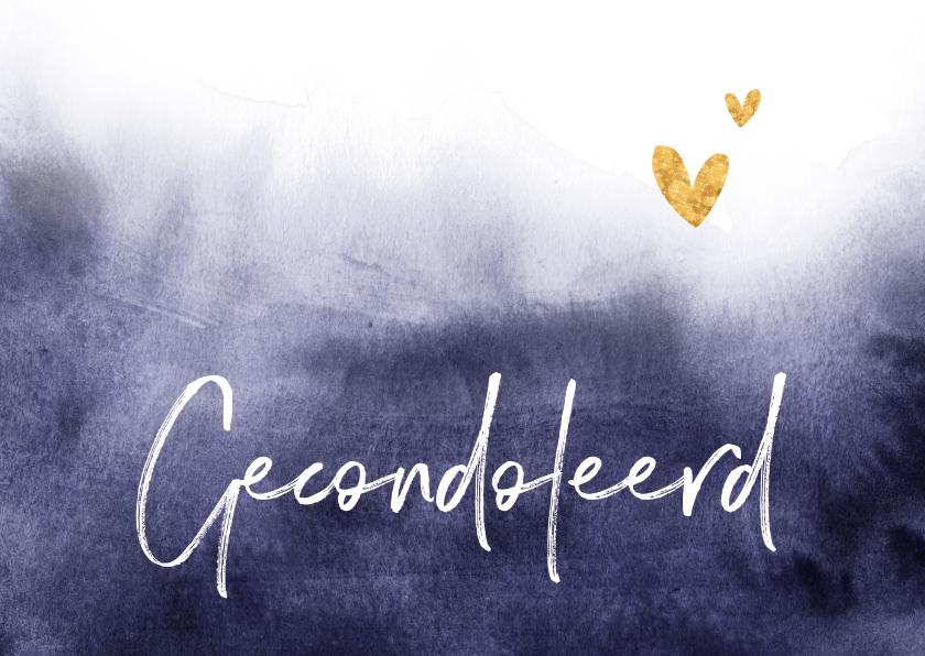 Condoleancekaarten - Condoleancekaart gecondoleerd verf stijlvol goud hartjes