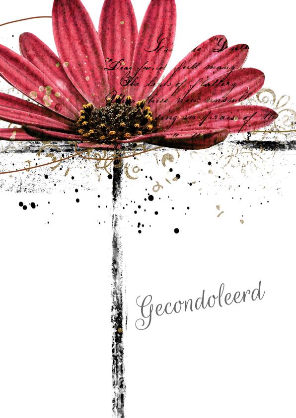 Condoleancekaarten - Condoleancekaart gerbera flower
