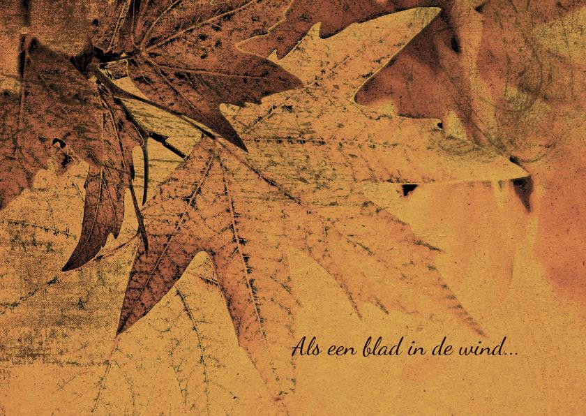 Condoleancekaarten - Condoleancekaart herfstbladeren grungy