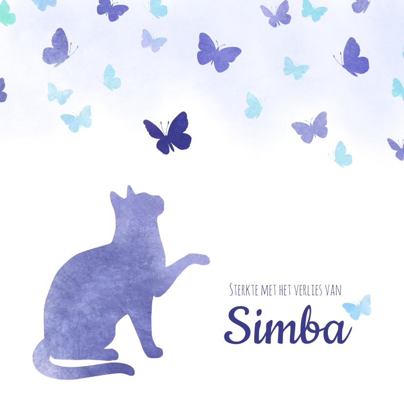 Condoleancekaarten - Condoleancekaart Huisdier kat met vlinders