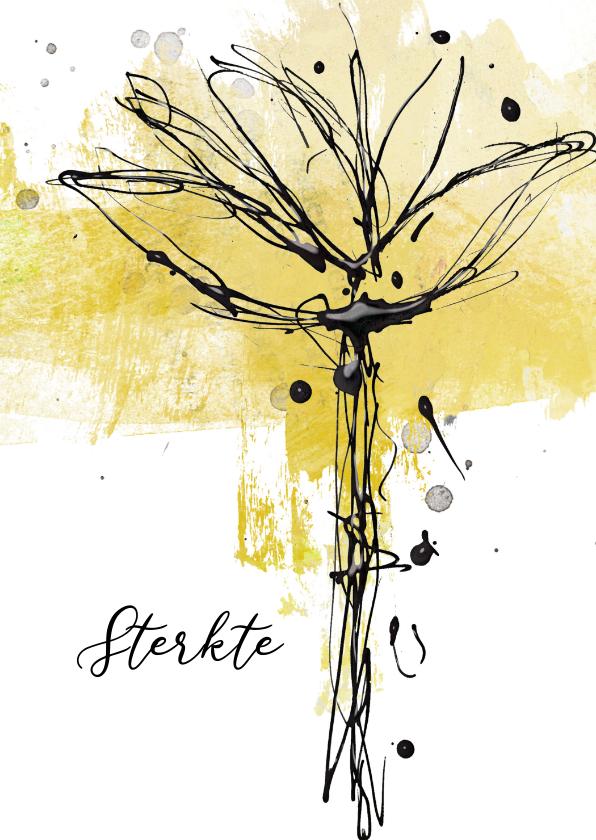 Condoleancekaarten - Condoleancekaart inkt bloem
