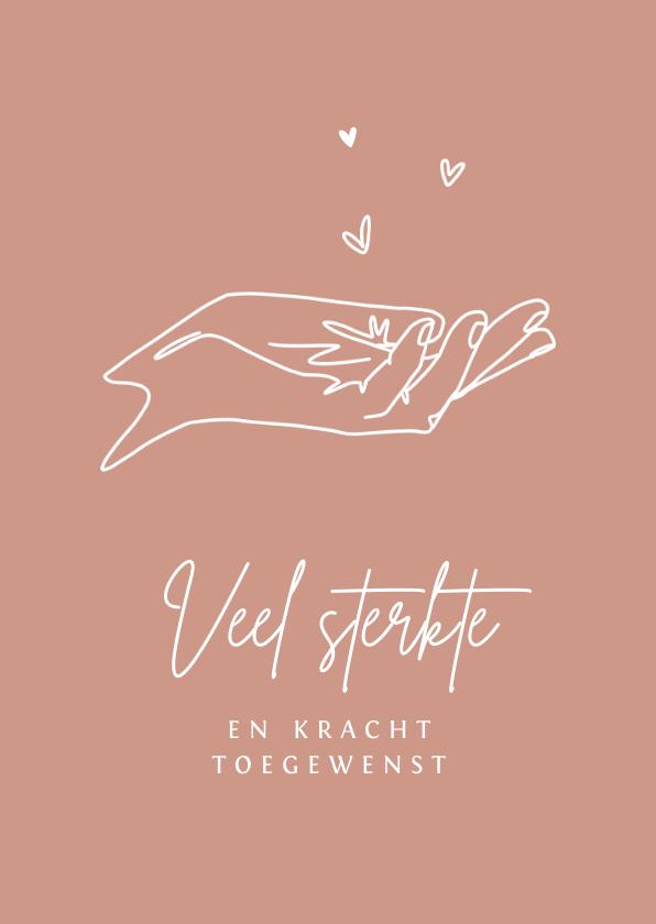 Condoleancekaarten - Condoleancekaart kind baby verlies sterkte palm hand