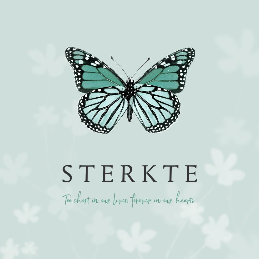 Condoleancekaarten - Condoleancekaart kind baby vlinder bloemen natuur