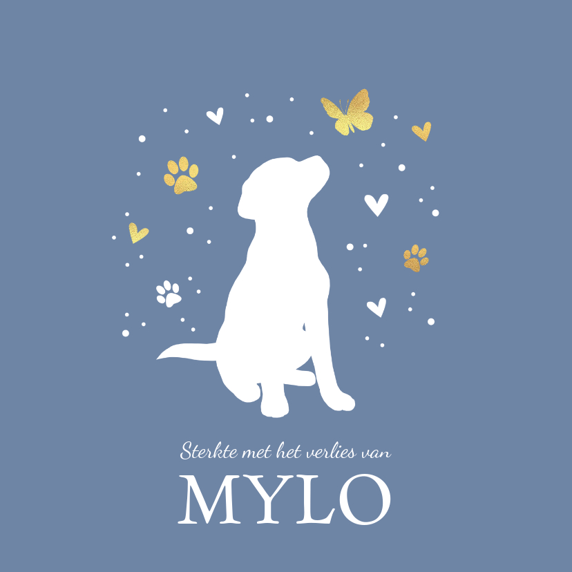 Condoleancekaarten - Condoleancekaart met hond, vlinder, hartjes en voetstapjes