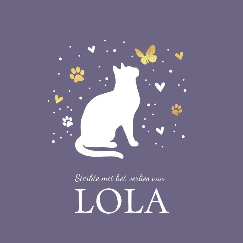 Condoleancekaarten - Condoleancekaart met kat, vlinder, hartjes en voetstapjes