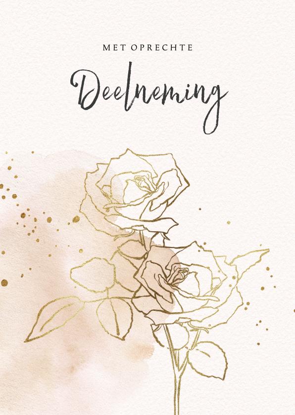 Condoleancekaarten - Condoleancekaart met rozen in goud en waterverf