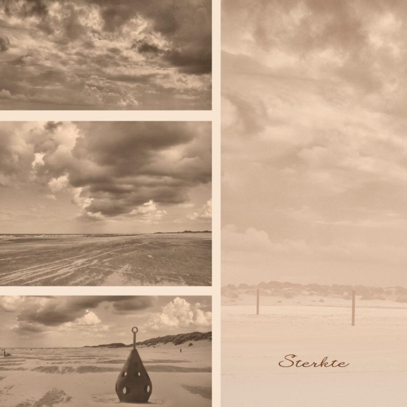 Condoleancekaarten - Condoleancekaart met strand en lucht sepia