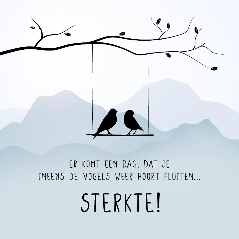Condoleancekaarten - Condoleancekaart met vogels in een boom, sterkte