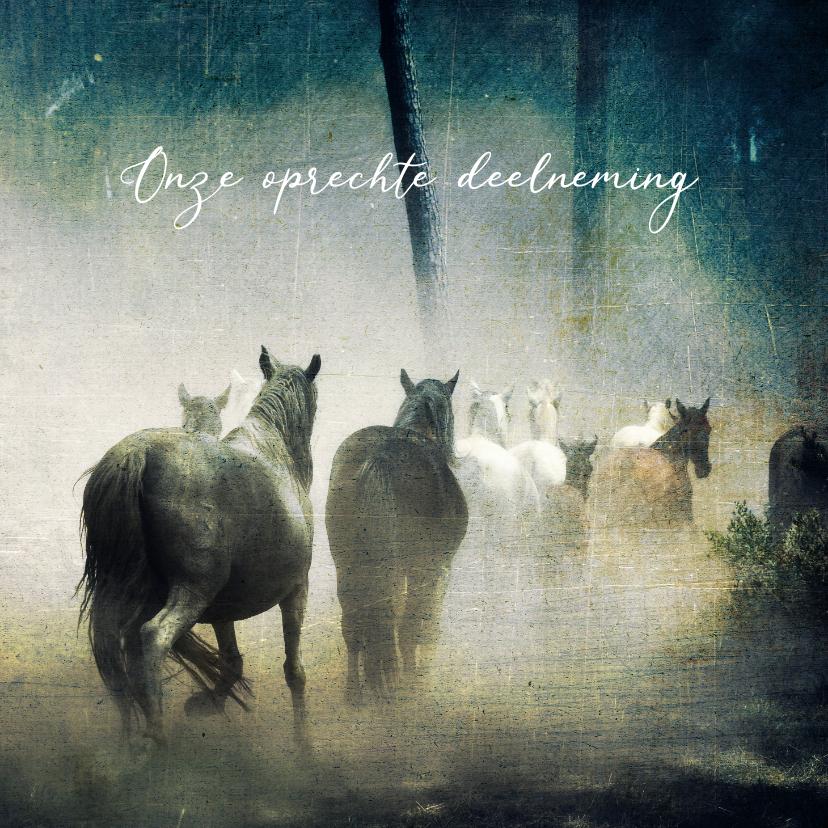 Condoleancekaarten - Condoleancekaart paarden in mist