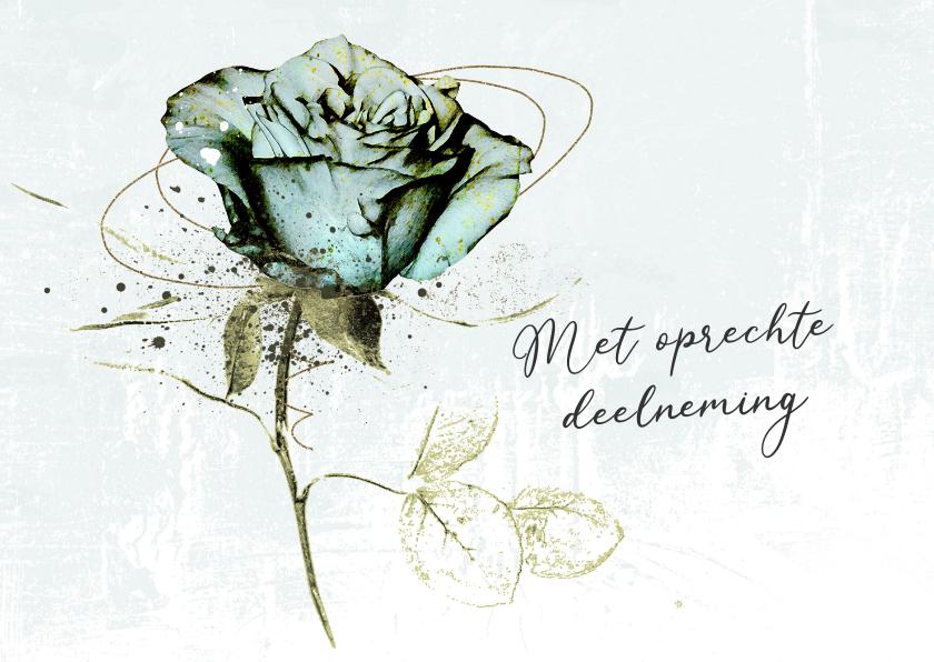 Condoleancekaarten - Condoleancekaart roos lichtblauw