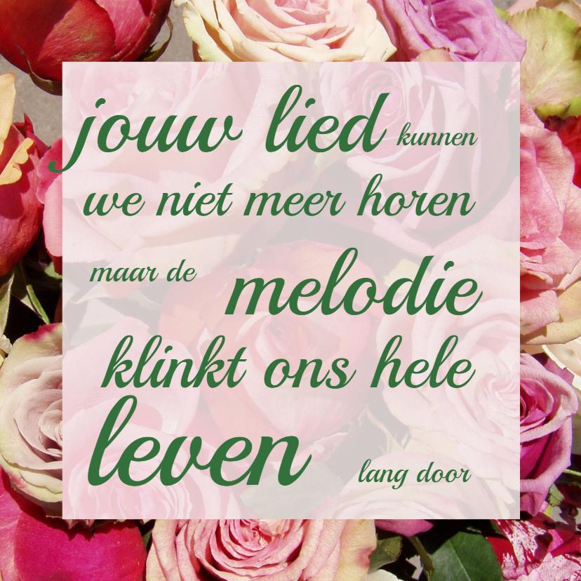 Condoleancekaarten - Condoleancekaart Roos+lied - AW