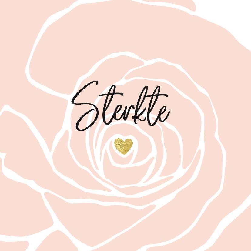 Condoleancekaarten - Condoleancekaart roos met gouden hartje als hart