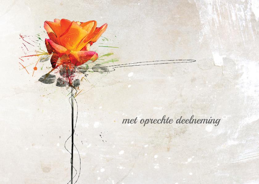 Condoleancekaarten - Condoleancekaart Roos Oranje Kracht