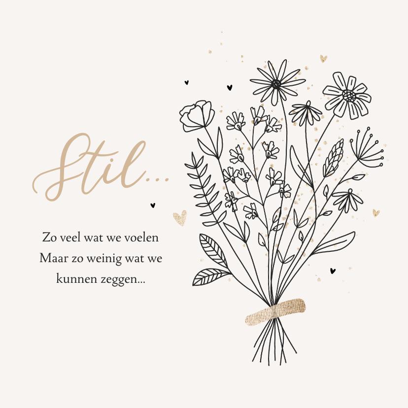 Condoleancekaarten - Condoleancekaart sterkte bloemen stil geen woorden hartjes