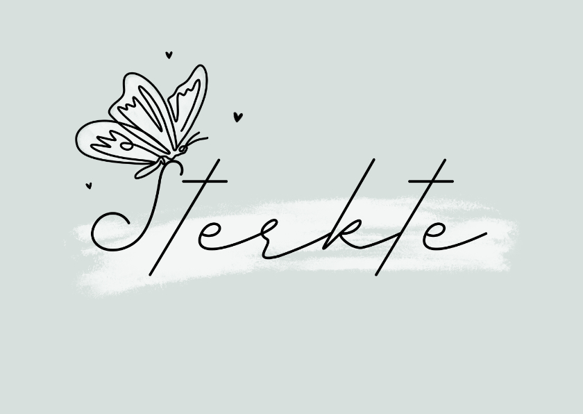 Condoleancekaarten - Condoleancekaart sterkte vlinder stijlvol hartjes