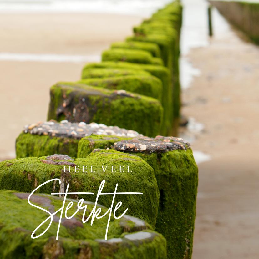 Condoleancekaarten - Condoleancekaart strandpaal aan zee