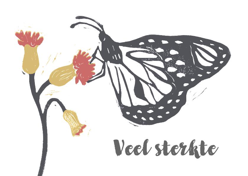 Condoleancekaarten - Condoleancekaart vlinder en bloem