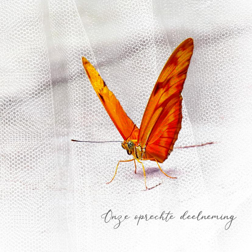 Condoleancekaarten - Condoleancekaart vlinder met sluier