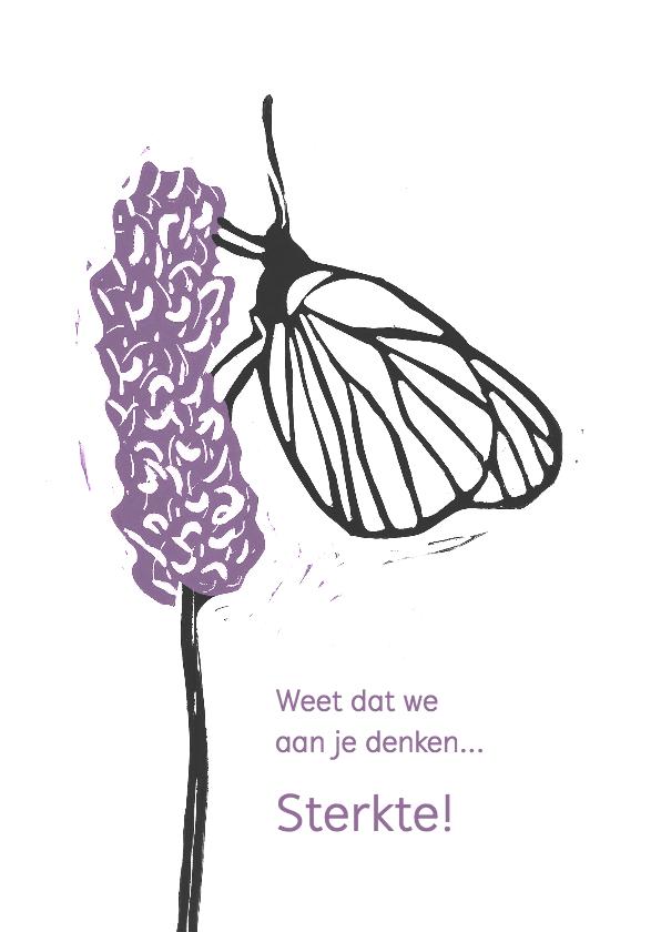 Condoleancekaarten - Condoleancekaart vlinder op bloem