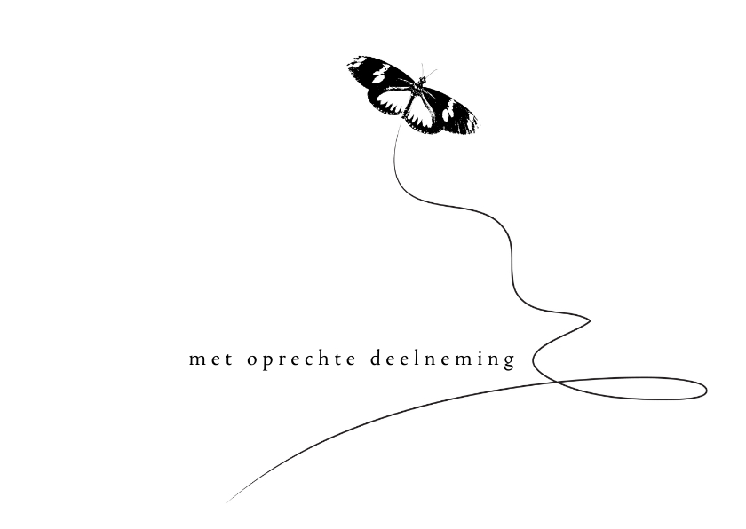 Condoleancekaarten - Condoleancekaart Vlinder zwart wit