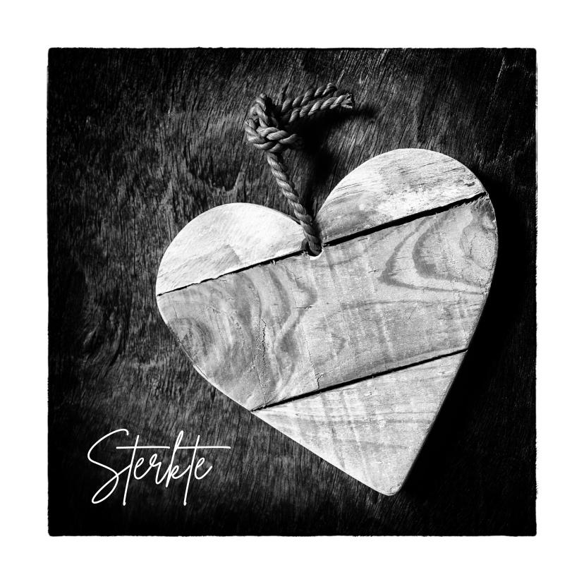 Condoleancekaarten - Condoleandekaart Zwart wit foto hart uit hout