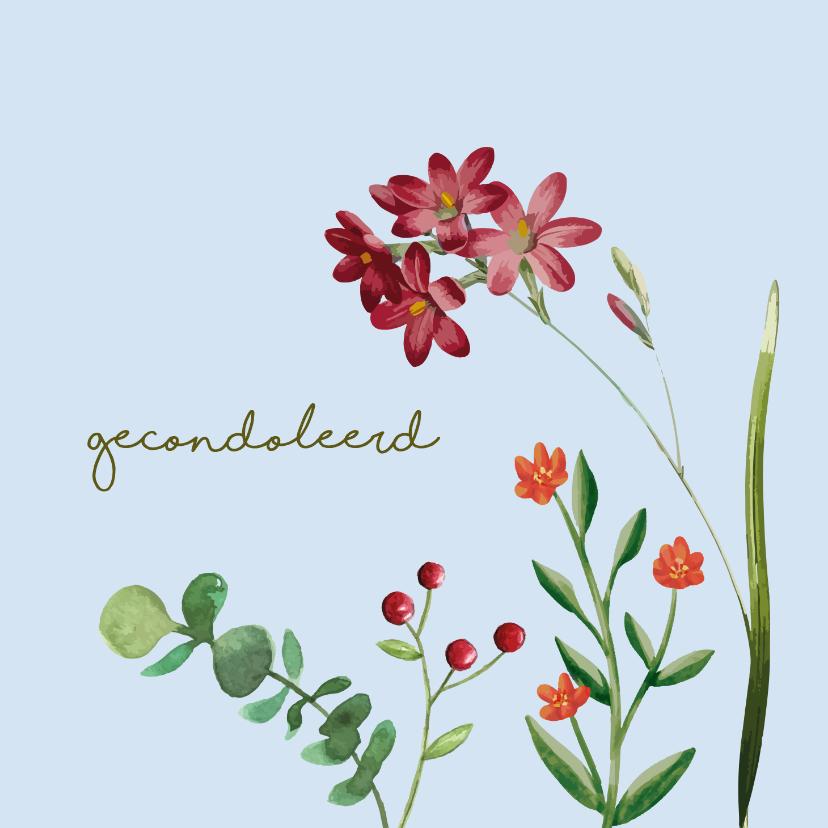 Condoleancekaarten - Gecondoleerd - bloem - condoleancekaart