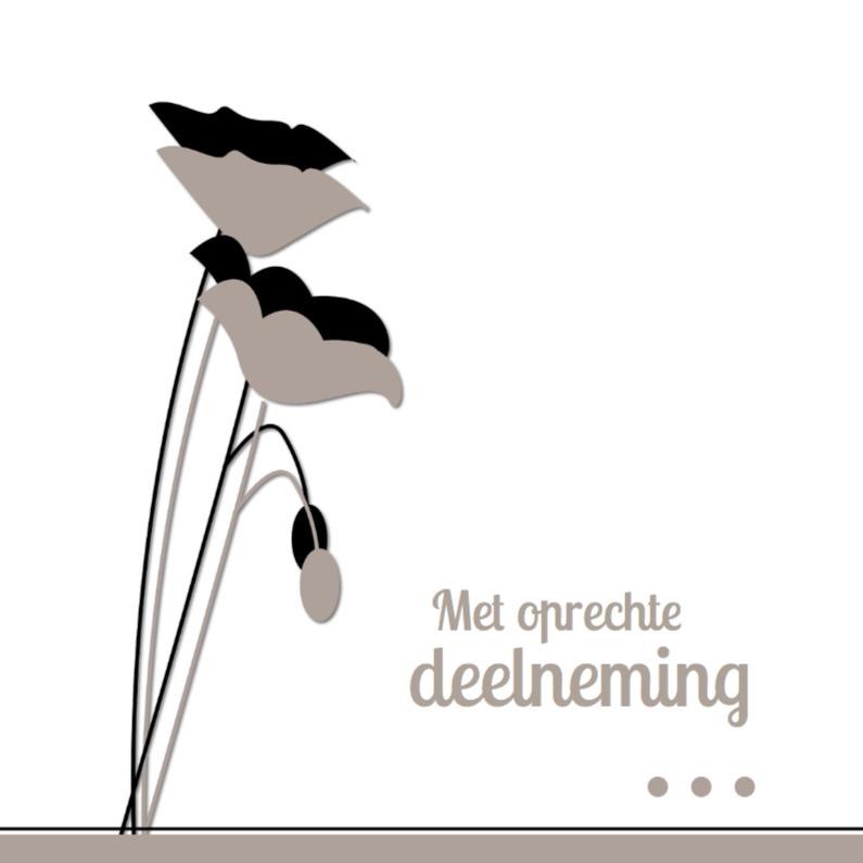 Condoleancekaarten - Kaart met bloemen en knop