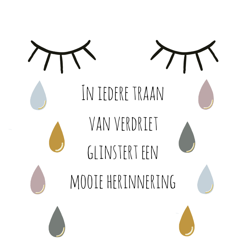 Condoleancekaarten - Kaart met ogen, tranen en spreuk